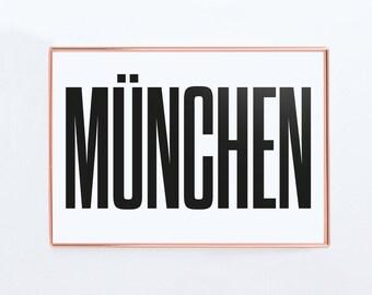 München Poster, Munich Germany, Graphic Art, Poster, Print, Gift