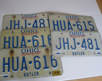 Lot Of 5 Vintage Ohio 80's & 90's License Plates Butler Tags