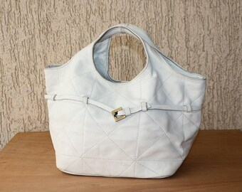 Handbag Leather White Purse Patchwork Day Vintage Bag Tote Leather