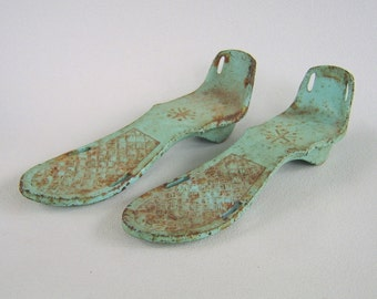 Vintage Cast Iron Boots Exercise Shoe Weights Women 50's Aqua