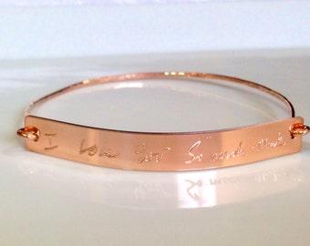 Custom Handwriting Bracelet Rose Gold Filled Jewelry Handwritten Bangle Signature Bracelet engraved bracelet Memorial handwriting jewelry