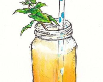 Mango Mason Jar Print