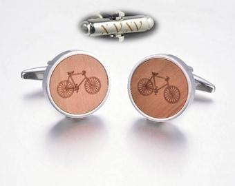 Wood  Bicycle Cufflinks. Bike Cuff Links. Cufflinks for Men. Bicyclist Gift. Cyclist Cufflinks. Sport Cufflinks. Tour de Franc.