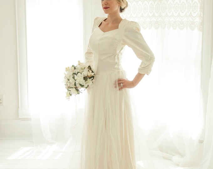 Vintage 1940s satin wedding dress, ivory tulle long sleeve sweetheart ruching puffed sleeve gown, XS S