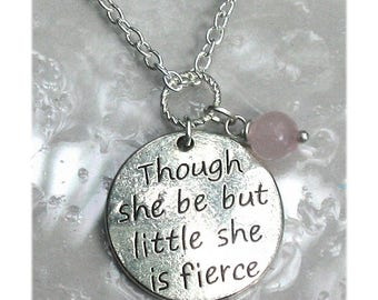 Though She Be But Little She Is Fierce Necklace Personalize Birthstone Crystal Gemstone She Is Fierce Charm Necklace For Daughter #N527