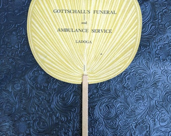 Antique funeral home advertising fan Gottschall's funeral home and ambulance service Ladoga Indiana