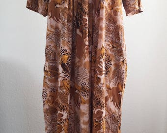 Vintage 1980s Meant to Be Animal Paisley Print House Day Dress Size