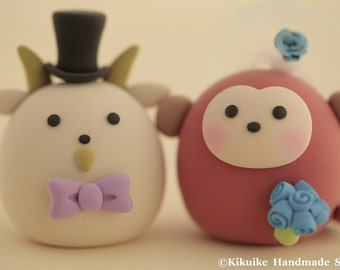 Goat  and Monkey  wedding cake topper