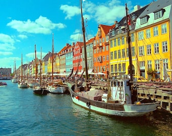 "PICTURESQUE view of the ""NYHAVN"", New Harbor, in Copenhagen - DENMARK . Framable 5X7, Blank Fine Art Photo Card. Copyright Protected."