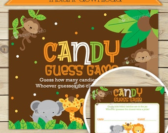 Safari Baby Shower Candy Guessing Game - Jungle Baby Shower Games Printable - Instant Download - Baby Shower Game - Shower Activities