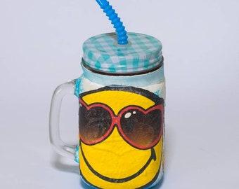 Emoji mug mason jar lemonade punch juice giftidea for emoji fan birthday party handmade decoupage surprise free ship modern kitchen decor