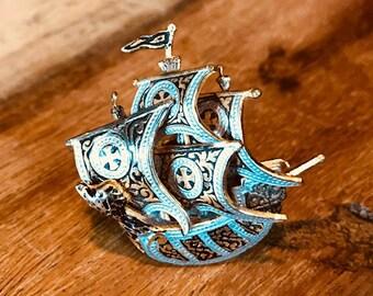 Vintage Galleon Ship Adjustable Ring, Damascene, Spain, Maltese Cross, Gold, Nautical, Bague, Banillo,