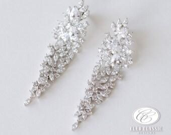 Wedding Clear Zircon Crystal Earrings | Bridesmaid Earrings | Wedding Earrings | Bridal Earrings | Prom Earrings | Wedding Jewelry