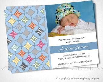 Quatrefoil Cathedral Window Birth Announcement - Blue - DIY Printable