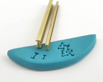 Railroad I shape - CPC™ SHAPES Mokume Collection - 4 sizes - Brass shape cutters