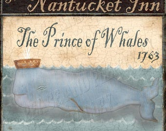 Whale Nautical Royal Pub Sign Folk Art * can be Personalized! Chose it as a Print, or as Print Mounted to Wood or as InstantDigitalDownload