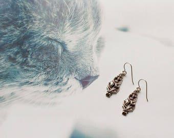 Bronze marten earrings  in Viking style
