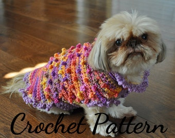CROCHET PATTERN, Dog Sweater, Small Dog, Patterns, Crochet, Dog Clothes, Pet Clothes, Crochet for Dogs, Crochet Sweater, Instructions