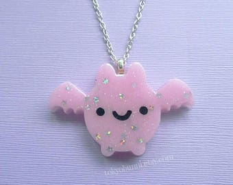 Pink Kawaii Bat Necklace- Kawaii-Pastel Goth- Fairy Kei- Sweet Lolita Gothic Lolita Harajuku