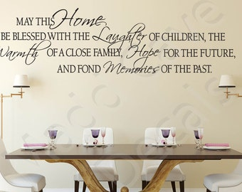 May This Home Be Blessed Vinyl Wall Decal Quote