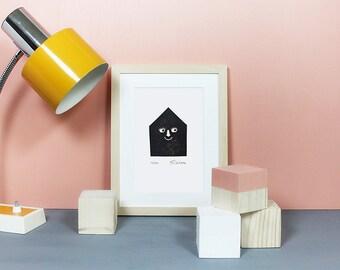 Happyhaus | Linoldruck, Linolschnitt, Linoleum, Druck, Print, Bild, Minidruck, Grafik, Haus, Heim, Architektur, Poster, Plakat, schwarz, A5