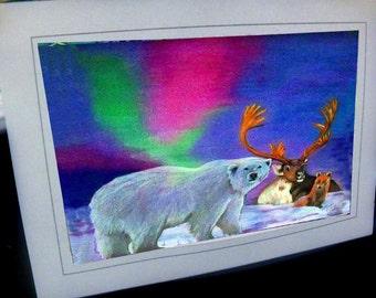 greeting card northern peace polar bear caribou fox northern lights colorful Alaska