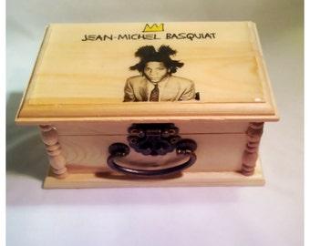 Basquiat, keepsake box, Jean Michel basquiat, basquiat art, basquiat photo, basquiat picture,trendy,Unique gift, jewelry Box, birthday Gift,