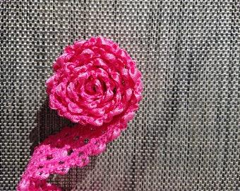4 Yards of Bright Pink Crocheted Elastic Trim