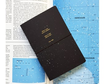 Quote  Notebook / Midnight Star with real gold foil -  size :  A6