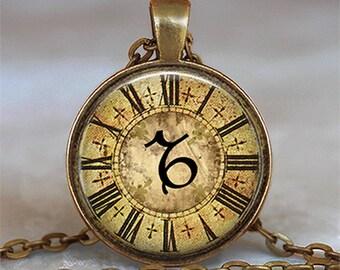 Steampunk Zodiac Capricorn pendant, Capricorn necklace Capricorn jewelry Zodiac jewelry Zodiac pendant astrology key chain key ring key fob