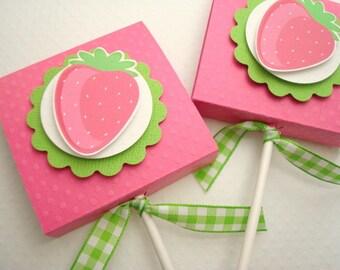 Rose fraise Lollipop Party Favors, ensemble de dix