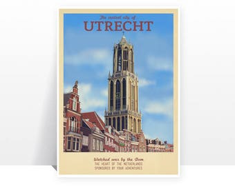 Retro Travel Poster - The Netherlands - Utrecht - MANY SIZES - Modern Vintage Dutch Holland Holiday Adventure Art Print