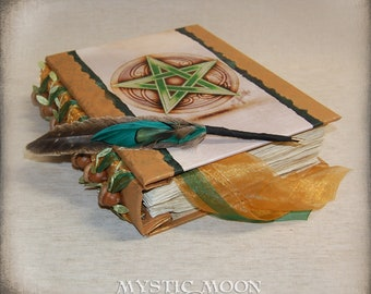 Oak Inspired / Pentagram / Book of Shadows / Journal / Personalized Journal / Wicca / Spell Book / Prayer Book / BOS / Spellbook/ Quill Pen
