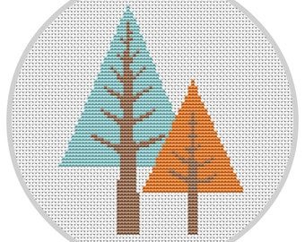 Trees Cross Stitch Pattern PDF Instant Download Modern cross stitch pattern Woodland nursery Modern trees Counted cross stitch X199