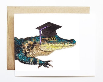 Graduation Card - Crocodile, Grad Card, College Graduation, High School Grad, Congrats Grad, Congrats Card, Cute Animal Card, Crocodile Card