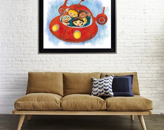Watercolor Little Einsteins 2 Splatter Art Print Matte Print Poster