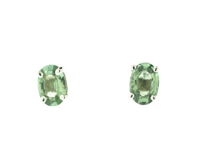 Sapphire Stud Earrings--14K White Gold Stud Earrings--Green Sapphire Earrings