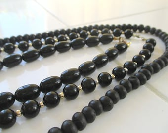 Black Bead Necklaces * Lot Of Three Necklaces * Classic Vintage
