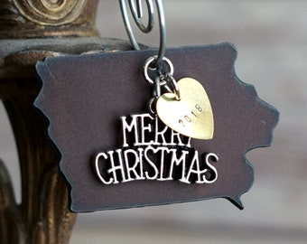 IOWA Christmas Ornament SMALL, Iowa Ornament, Christmas Gifts 2018, Personalized Gift, State Christmas Ornaments, IOWA Ornaments