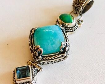 Amazonite, Opal, Blue Topaz Pendant-Amazonite Pendant