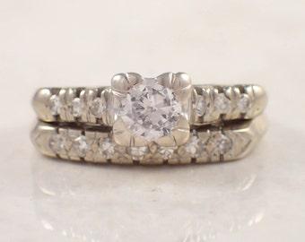 Retro 14k White Gold Diamond Engagement and Wedding Band Set