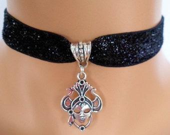 mask choker, black velvet choker, stretch ribbon, mask necklace, gothic necklace