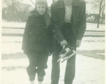 Ice Skates Father Daughter Ice Skating on Pond in Winter 1930s Vintage Black and White Vintage Photo Photograph