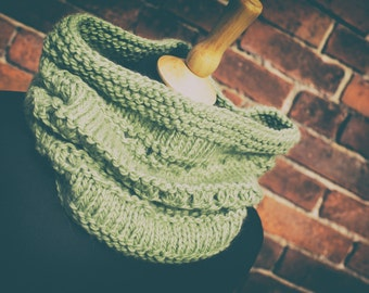 Super Chunky Hand Knit Cowl, Neckwarmer - Pistachio - Wool/Alpaca; READY TO SHIP