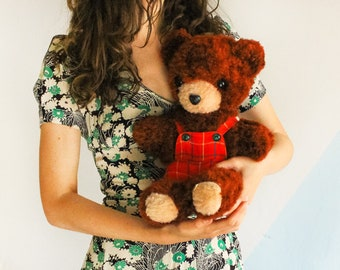 RARE! Soviet Teddy Bear / USSR Vintage Brown Mohair Stuffed Animal in Tartan Overalls / Large MISHKA Softie ----> 52cm - 20,5 Inches Tall