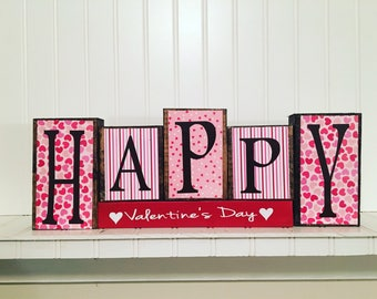 Happy Valentine's Day wood blocks-Valentine's day decor, heart blocks, Holiday blocks