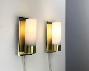 Classic set of mid century brass wall lights by Eglo - golden austrian contemporary design wall sconce