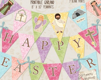 Easter Garland, Instant Download Easter Banner, Easter bunting, Religious Easter Decorations for Sunday School, Christian Easter party