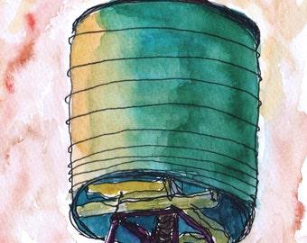Art Painting Watercolor  Sketch NYC Roof Top Urban Water Tower  Print