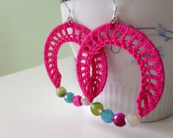 Colorful Earrings, Gemstone Jewelry, Ethnic Boho Earrings in Hot Pink or Grass Green, Dangle Earrings With Moss Agate Beads, Crochet Jewelry